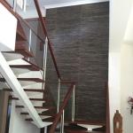 Broadbeach Waters Staircase - black grasscloth wallpaper
