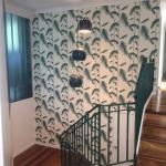 Burbank staircase wallpaper installation