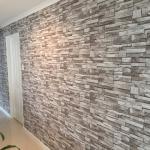 Hope Island wallpaper installation - grey slate tiles in entry