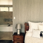 Pimpama wallpaper installation - main bedroom looking into bathroom
