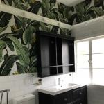 The Grange wallpaper installation powder room