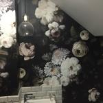 Wooloowin wallpaper installation - Dark floral Ellie Cashman