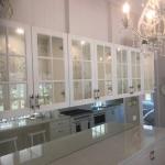 cupboard backs wallpapered - Tallebudgera ValleY wallpaper installtion