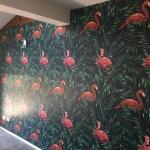 flamingo wallpaper Byron Bay wallpaper installation