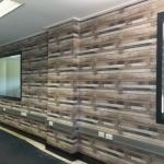 wooden plank wallpaper installation in shcool classroom Sunshine Coast
