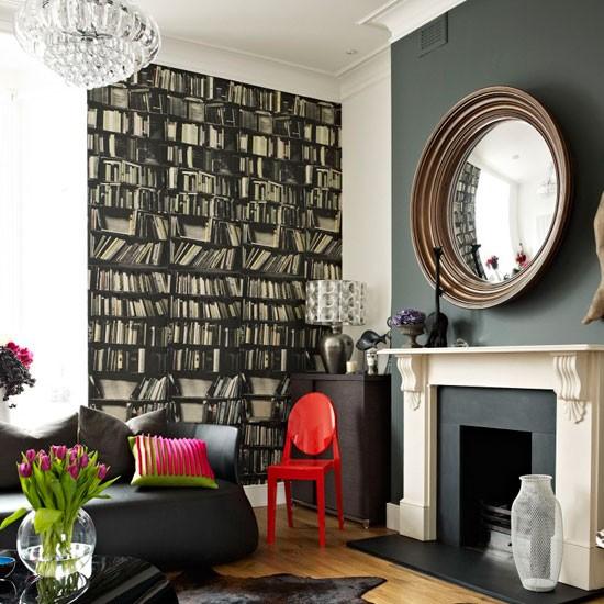 Bookshelf wallpaper in lounge room