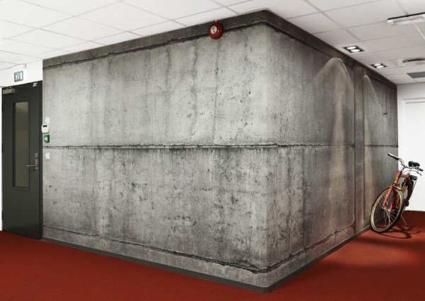 Concrete wallpaper create an instant urban industrial feel for Wallpaper for office wall