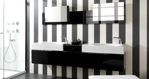 bathroom wallpaper black and white stripe