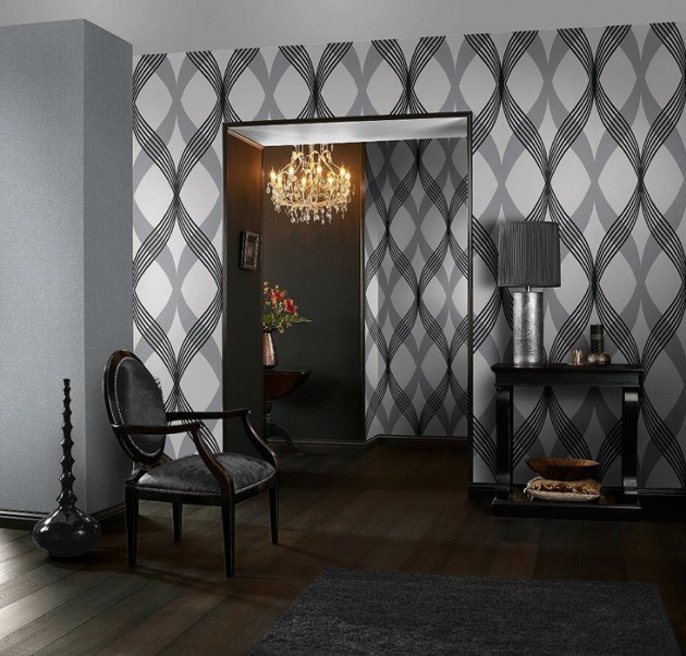 Geometric Wallpaper Adds A Great Touch To A Bachelor Pad