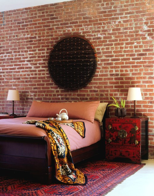 Brick Wallpaper Bedroom Behind Bed
