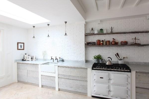 White Brick Wallpaper On Kitchen Walls