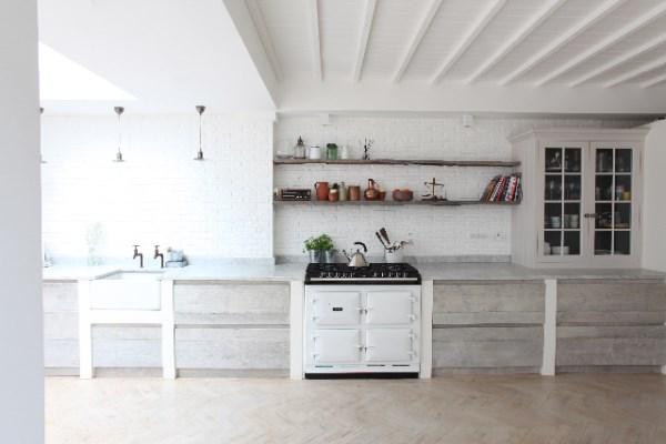 White Brick Wallpaper In Kitchen