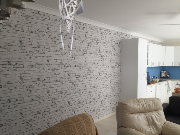 white brick wallpaper installation Brisbane after