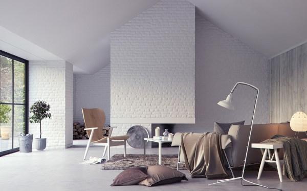 white brick wallpaper in lounge