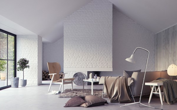white brick wallpaper in lounge