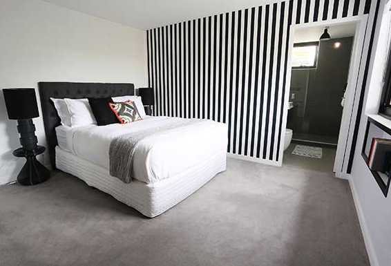 Black And White Striped Wallpaper Used By Bec And George The Block Sky High