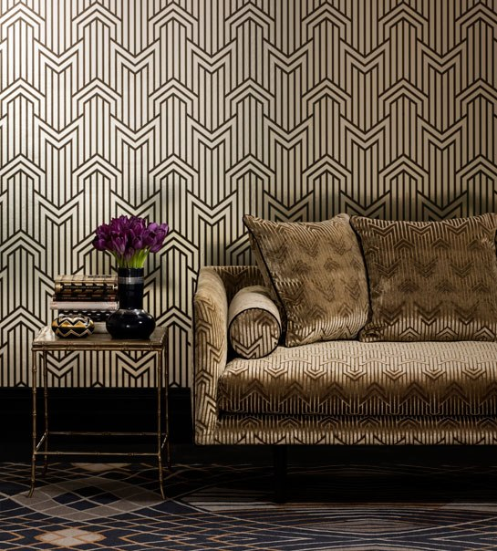 Art deco wallpaper inspired by 1920 39 s glamour for Wallpaper home fabrics