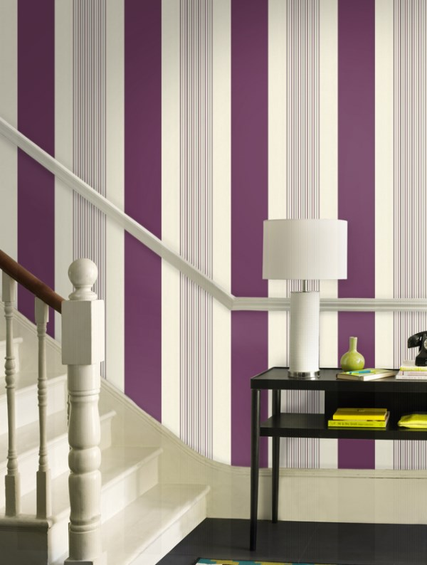 Purcell Purple Stripe WallpaperDL The Home Depot