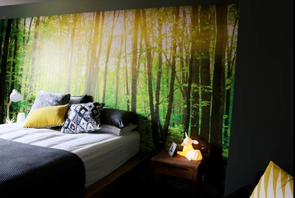 Forest wallpaper mural - Bec and George The Block Sky High