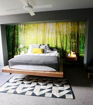 Forest wallpaper mural used by Bec and George