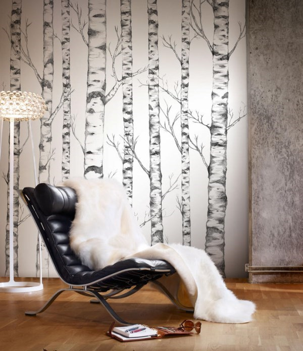 Tree wallpaper designed by nature for Birch tree mural wallpaper