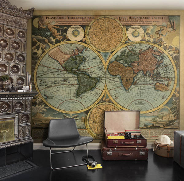 World map wallpaper mural for Antique world map wallpaper mural