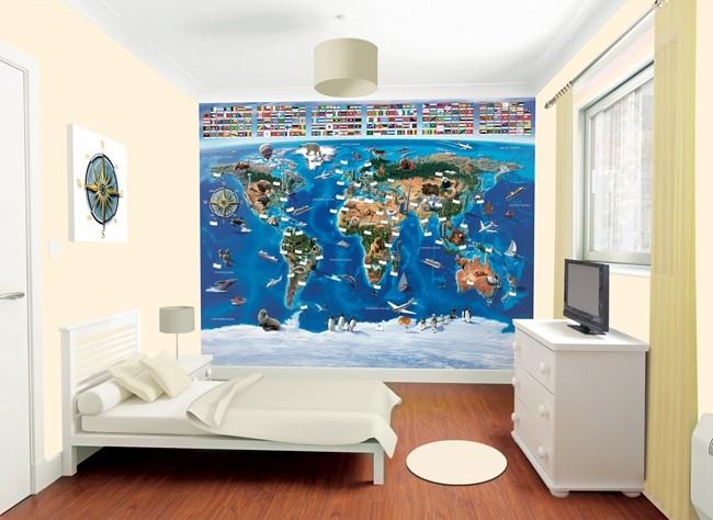 World map wallpaper mural walltastic murals world map gumiabroncs Images
