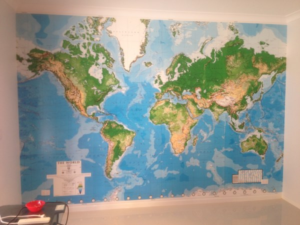 below is an example of a world map mural that was recently installed. Black Bedroom Furniture Sets. Home Design Ideas