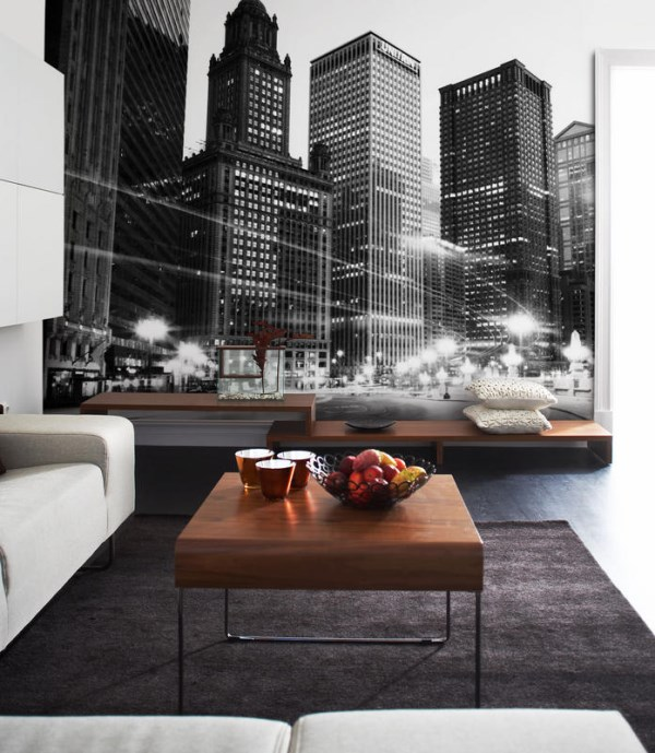 Cityscape wallpaper murals give an instant urban vibe for Chicago skyline mural wallpaper