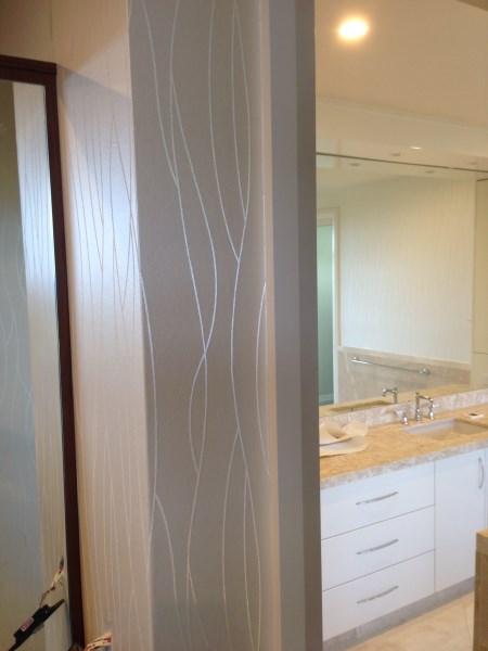 Byron Bay wallpaper installation in bathroom
