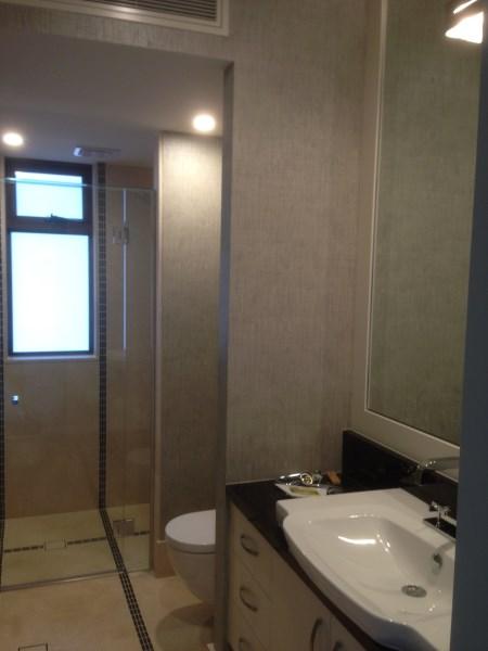 bathroom wallpaper installation - Byron Bay house