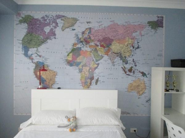 world map mural Sunshine Coast wallpaper hanging