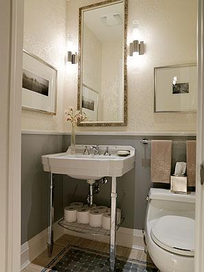 Powder room bathroom wallpaper for Wallpaper for small powder room