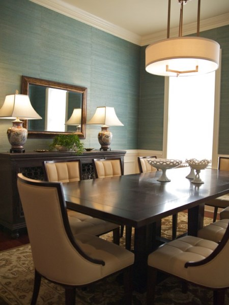 GREEN GRASSCLOTH WALLPAPER IN DINING ROOM