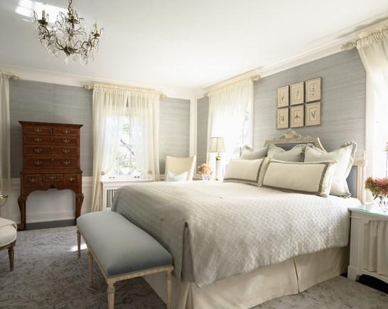 Grey grasscloth wallpaper in bedroom
