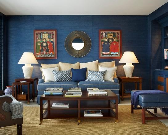 blue grasscloth wallpaper