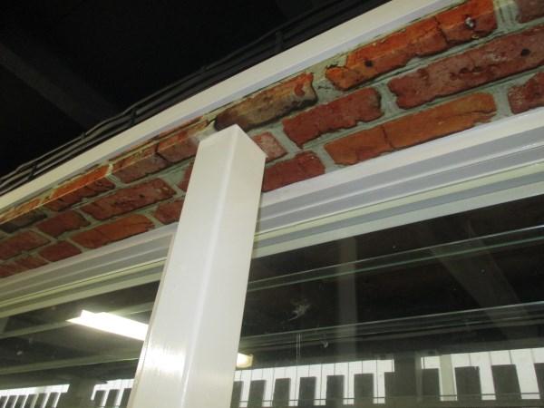 brick wallpaper around pole finished