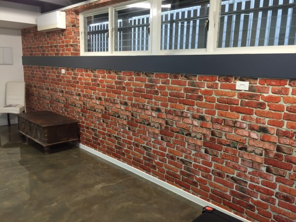 brick wallpaper install - the Grange
