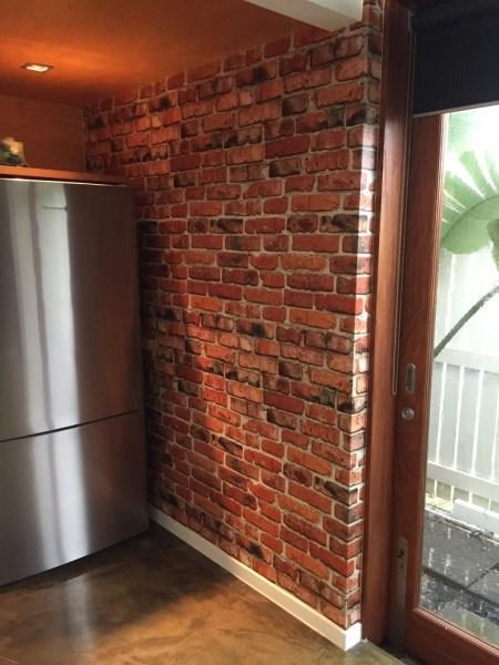 brick wallpaper installation - The Grange - Brisbane