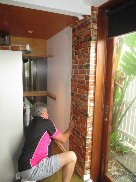 wallpapering kitchen area