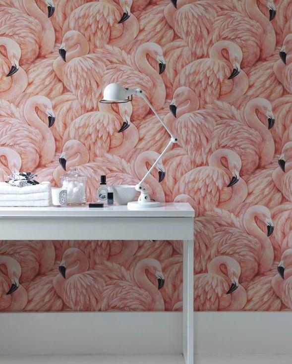 Albany Wallpaper - Pink Flamingos