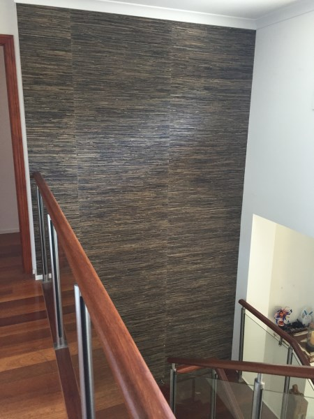 Broadbeach Waters grasscloth wallpaper in staircase