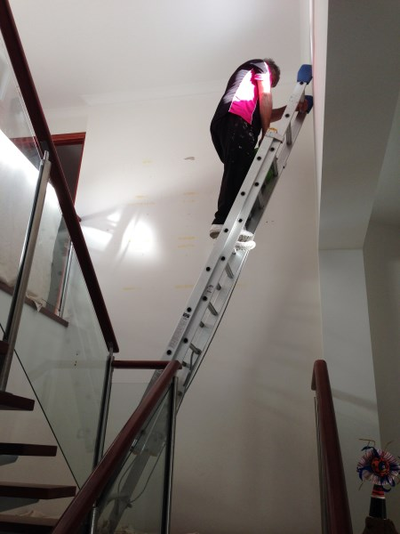 before wallpapering staircase wall