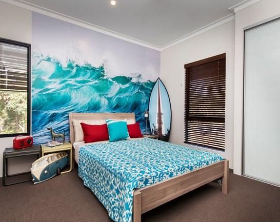 Wave Mural In Bedroom