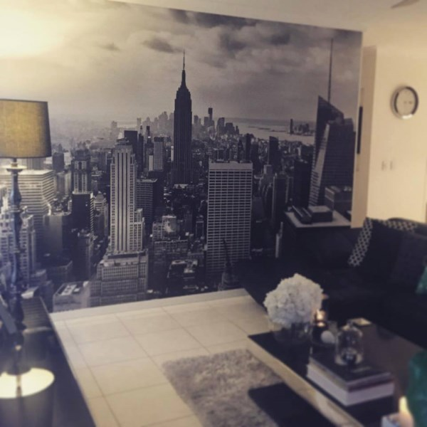 Wall mural installations for Cityscape mural