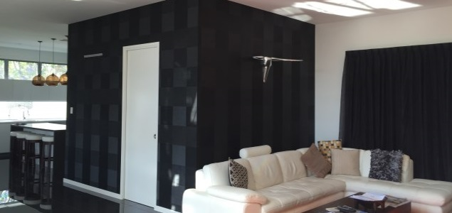 Black vinyl wallpaper installation Brisbane