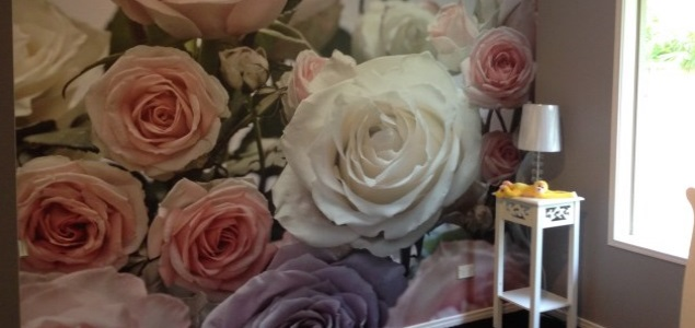 rose mural installion in baby nursery Gold Coast
