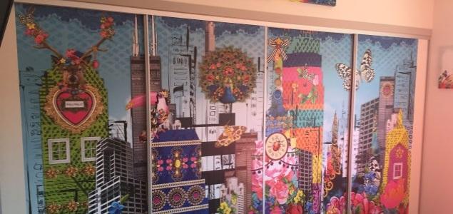 wardrobe door mural installation - Brisbane