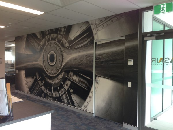 Archerfield Airport wall mural installion in office