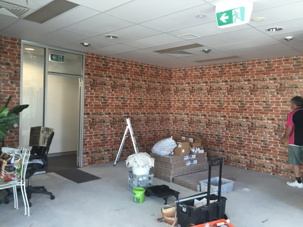 brick wallpaper for office fitout